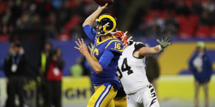 Der Los Angeles Rams Quarterback Jared Goff im Spiel gegen die Cincinnati Bengals.