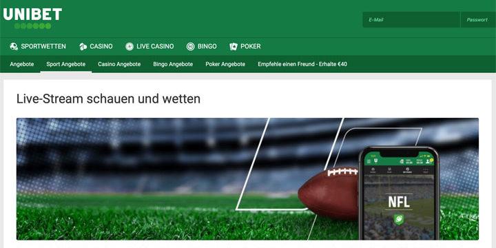 NFL Sportwetten Aktion und Live Stream 2020 bei Unibet