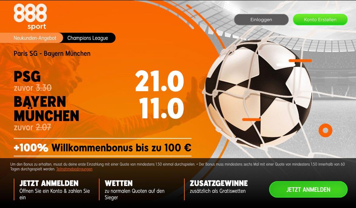 Paris gegen Bayern Quoten + Sportwetten Bonus
